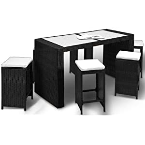 polyrattan barset tisch 6 barhocker rattan bar lounge set poolbar rattanbar. Black Bedroom Furniture Sets. Home Design Ideas