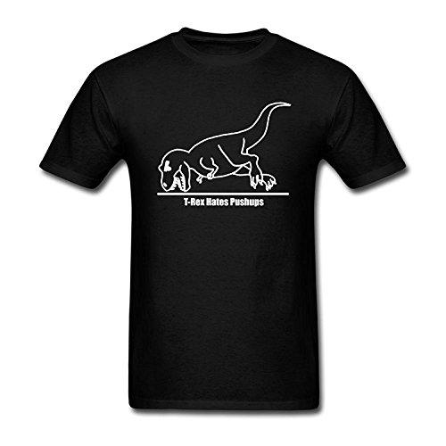 Men's T-Rex Hates Push Ups Design Cotton T Shirt S