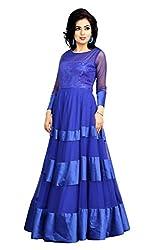 Clickedia Women & Girls Beautiful Semi Stitched Net Blue Gown