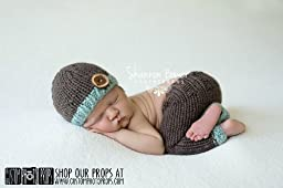 Chocolate and Mint Newborn Pants Photography Prop with Matching Hat, Baby Boy Props, Newborn Pants, Photo Props