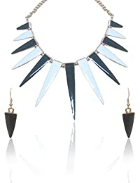 Chandrika Pearls French Designed Hot Black & White Triangle Necklace With Earrings