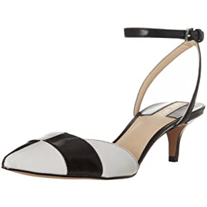 Nine West Women's Paycie D'Orsay Pump,Black/White Leather,8.5 M US