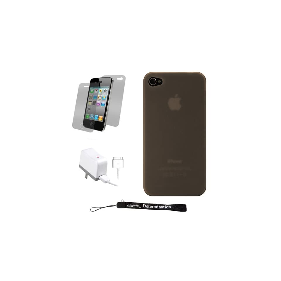 Smoke Premium Crystal Candy TPU Silicone Skin Cover Case for Apple iPhone 4 ( 4th Generation 16GB 32GB   AT&T and Verizon ) + Includes Anti Glare Screen Protector Guard + Includes a Home Wall Charger for your iPhone 4