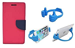 DENICELL Royal Dairy Style Flip Cover For MICROMAX UNITE 2-A106 (NEON PINK,ANY MOBILE STAND)