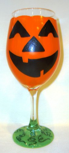 Jack-O-Lantern Hand Painted Wine Glass