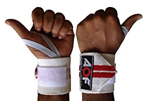 AQF Power Weight Lifting Wrist Wraps Supports Gym Training Fist Straps White