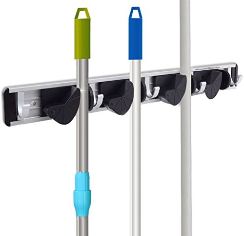 RockBirds T45 Towel Hook, Mop and Broom Holder, Storage Solutions for Broom Organizer, Closet Garage Organizer, Garden Tool Storage (Broom Closet Shelf compare prices)
