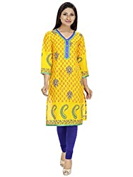 Tanvi Yellow Cotton Straight Kurti For Women