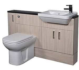 Light Swiss Elm Slimline Bathroom Furniture 1500mm Basin