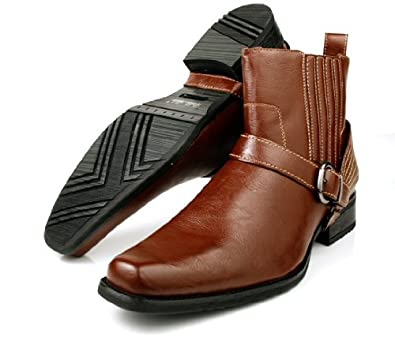 Delli Aldo Fashion Men's Harness Boots Motorcycle Style Pull-on Shoes Brown (8)