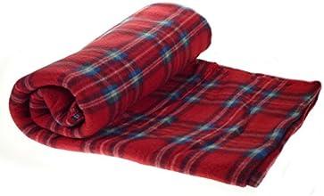Checked Fleecy Blanket 100 Soft Polar Fleece Bed Sofa Throw Over 127cm x 152cm Red amp Blue Check