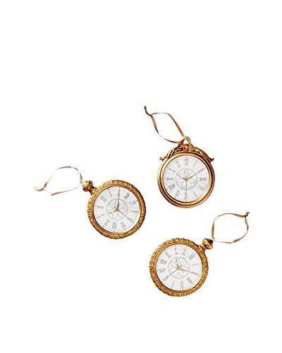 Winward Set of 3 Handcrafted Pocket Watch Ornaments, Antique Gold