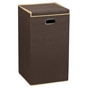 Household Essentials Clothes Hamper with Lid, Coffee Linen