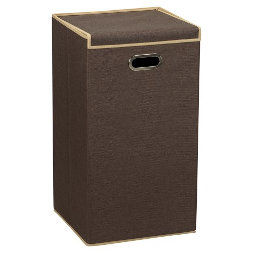 household-essentials-folding-laundry-clothes-hamper-with-lid-and-handles-brown-coffee-linen