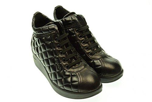 ALBANO donna sneakers alte con zeppa 105 CLAS TRAPUNTA VITELLO 38 Nero