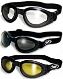 3 Burning Man Dust Storm Motorcycle Goggles That Fold for Easy Storage Clear Smoked Yellow