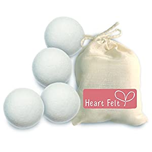 Wool Dryer Balls with Free Gift Bag - Four Extra-large Premium Quality By Heart Felt ~ Save Time and Money ~ Naturally Soften Laundry ~ Eliminate Static ~ Eco-friendly Materials and Design ~ Perfect for Cloth Diapers or Daily Laundry ~ Save 20% on a Second Pack ~ Money Back Satisfaction Guarantee!