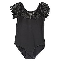 BHL Girls Dance Leotard 3-12 Years Lace Short Sleeve (4-6, Black)