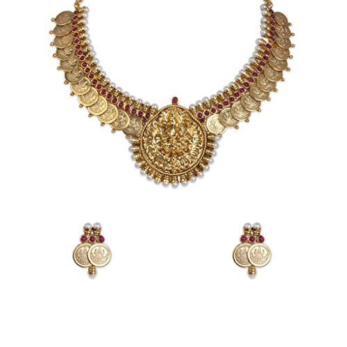 Sthrielite Estonish Gold Plated Laxshmi coin Necklace Set (yellow)