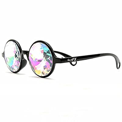 GloFX Black Kaleidoscope Glasses- Rainbow Rave Prism Diffraction from GloFX