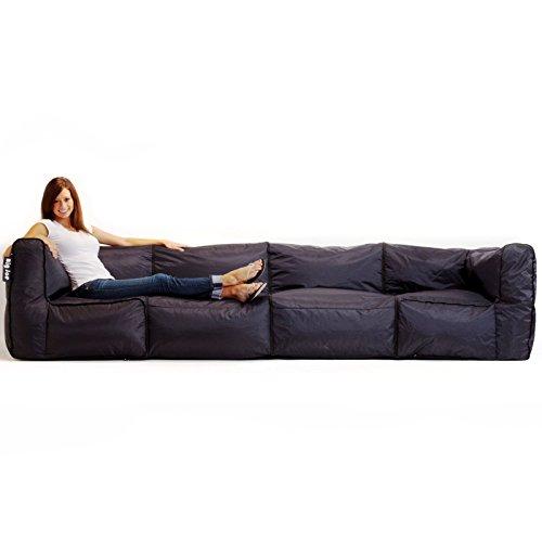 Big Joe Zip Modular Sofa Stretch Limo Black 4 Piece
