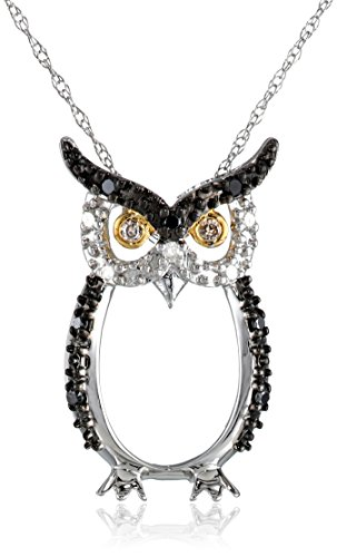 10k Two-Tone Gold Black, White and Champagne Diamond Owl Pendant Necklace (1/10 cttw, H-I Color, I2-I3 Clarity), 18""
