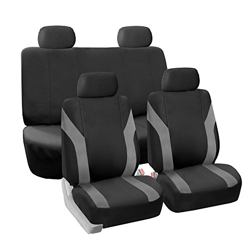 FH GROUP Pique Fabric Full Set Seat Covers Gray / Black- Fit Most Car, Truck, Suv, or Van (Fabric Seat Covers compare prices)
