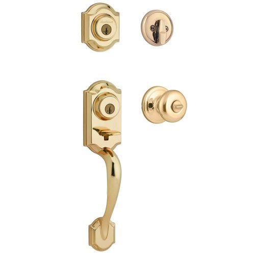 Kwikset featuring SmartKey Montara Single Cylinder Handleset with Juno Knob in Polished Brass 553MNHXJ 3 SMT CP (Brass Door Hardware compare prices)