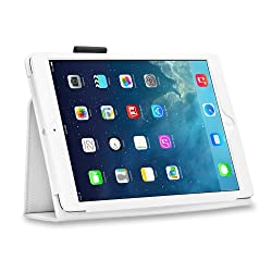 HOKO White Leather Flip Case Cover Stand with magnetic closure for Apple iPad Air (Auto wake and sleep)