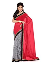 De Marca Off White And Red Art Silk Designer G-336 Saree