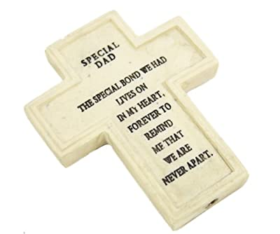 Resin Memorialgraveside Cross 8cm X 65cm With Message On Stick - Dad 518142 by SGP