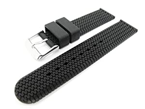 Men's Rubbertech Silicone Rubber Watchband Stainless Steel Buckle.  Black 18mm