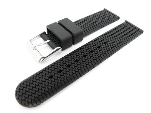 Men's Rubbertech Silicone Rubber Watchband Stainless Steel Buckle   Black 22mm - by JP Leatherworks