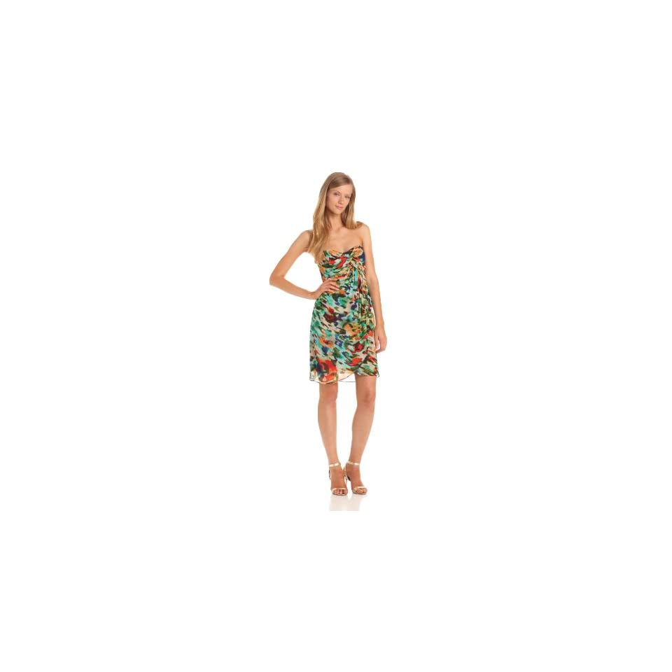 Nicole Miller Womens Strapless Abstract Print Dress