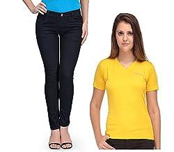 Oleva Women combo set of 2 (denim Black jeans and Yellow T-Shirt ) ONC-04_36