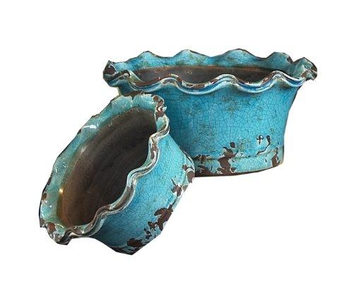 Napa Home & Garden Decorative Ceramic Low Bowls, Turquoise, Set of 2