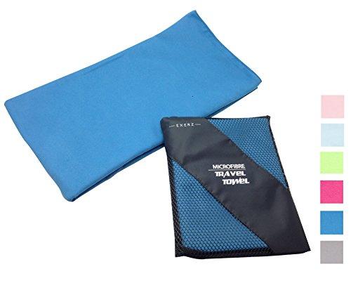 Exerz Micro XL 150x85 cm Voyage / Gym serviettes avec un sac - Voyage, sport, salle de gym, le camping, la natation, le yoga, plage, bain - en microfibre (Light, antibactérien et séchage rapide) (XL Bleu)