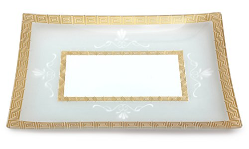 GAC Tempered Glass Tray Rectangular Glass Platter Break and Chip Resistant - Oven Safe - Microwave Safe - Dishwasher Safe Decorative Plate and Glass Serving Tray (Tempered Glass Oven compare prices)