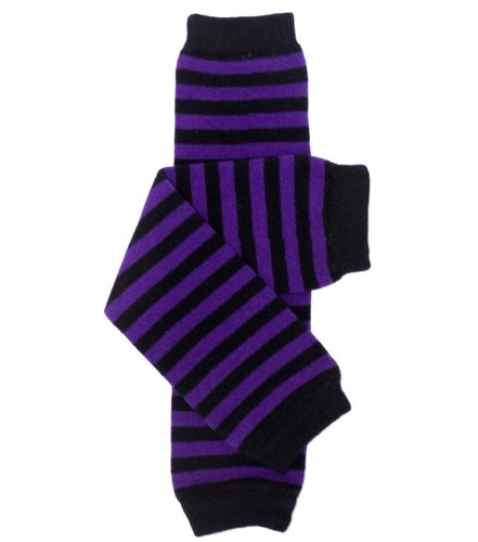 My Little Legs Purple And Black Witch Stripe Baby Leg Warmers For Girls Or Toddlers front-995111