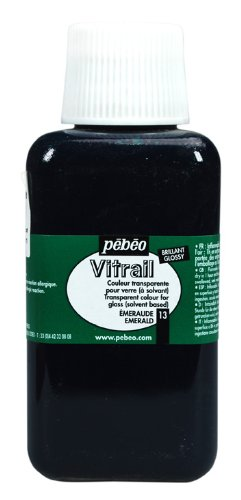 Pebeo 250Ml Vitrail Stained Glass Effect Paint Bottle, Emerald