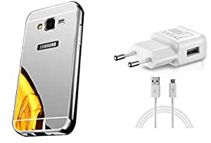 KES Combo Charger & Mirror Back Cover Samsung Galaxy On5 - silver