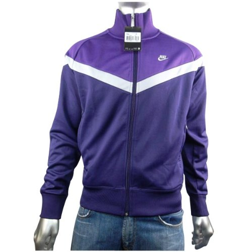 Mens Nike Vintage Retro Running Grey Purple Track Suit Top Jacket Size L