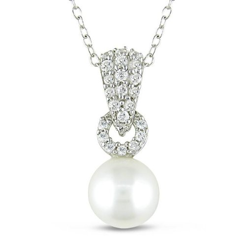 Silver Cubic Zirconia and Freshwater Pearl Necklace (8-8.5 mm)