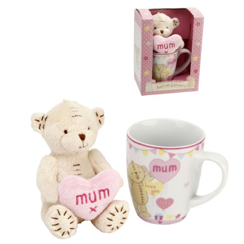 Button Corner Teddy Bear  Dotty Heart - mum I