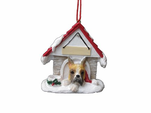 "Boxer Ornament Cropped A Great Gift For Boxer Owners Hand Painted And Easily Personalized ""Doghouse Ornament"" With Magnetic Back"