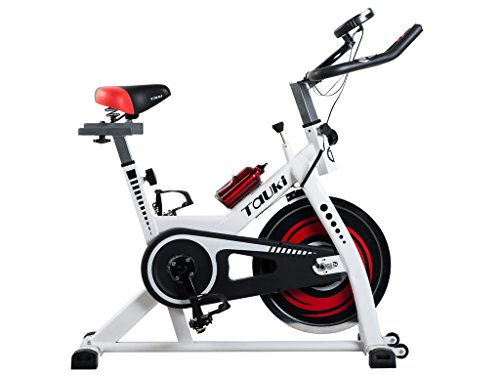 Tauki™ Indoor Upright Exercise Bike W/ LCD Monitor Cycling Bike for Health, Fitness, Training and Exercise, Adjustable Resistance, White