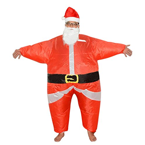 [NiSeng Mens Santa Claus Costumes Christma Inflatable Costume Red One Size] (Red Inflatable Funny Costumes)