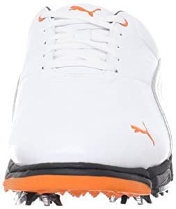 PUMA Men's Puma AMP Sport Golf Shoe,White/Vibrant Orange,12 M US