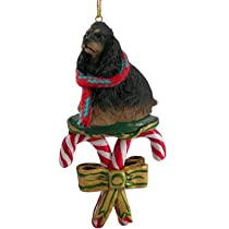 Cocker Spaniel Dog Black/Brown CANDY CANE Christmas Ornament