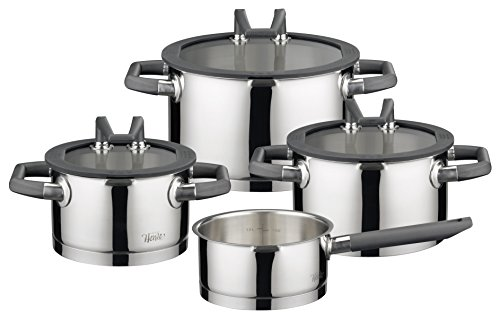 ELO Premium Black Pearl Stainless Steel Kitchen Induction Cookware Pots and Pans Set with Easy-Pour Lids, Heat Resistant Handles and Integrated Measuring Scale, 7-Piece (Induction Pot And Pans compare prices)